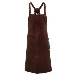 Artisan real leather cross back bib apron Thumbnail